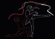 Elegant ballet couple: ballerina and ballet dancer. Vector stock illustration