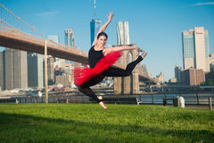 Elegant ballet dancer woman dancing ballet in the city Royalty Free Stock Image