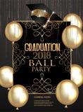 Elegant baner för avläggande av examenparti med guld- designbeståndsdelar och luftballonger vektor illustrationer