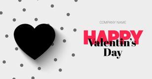 Elegant baner med svarta lyckliga valentin för hjärta och för text dag Royaltyfria Bilder
