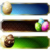 Elegant banners with gold-decorated chocolate eggs. Set of high gloss banners with easter eggs, in brilliant colors. Graphics are grouped and in several layers Stock Images