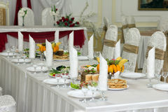 Elegant banquet desktop lay dishes Royalty Free Stock Images