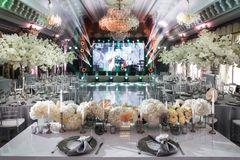 Elegant banquet hall for a wedding party Royalty Free Stock Image