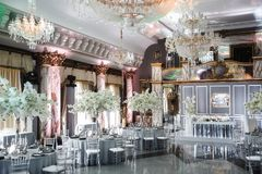 Elegant banquet hall for a wedding party Royalty Free Stock Images
