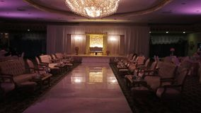 Decorated banquet hall for wedding reception royalty free stock images