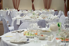Elegant banquet tables Stock Photo
