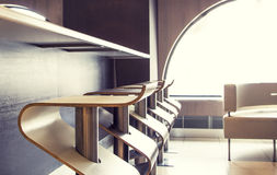 Elegant bar interiors. Elegant, modern and minimal style restaurant royalty free stock photo