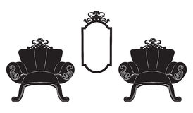 Elegant Baroque luxury ornamented furniture set Stock Photo