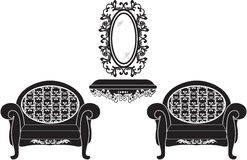 Elegant Baroque luxury ornamented furniture set Stock Photography
