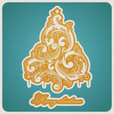 Elegant baroque style Christmas tree. Stock Image