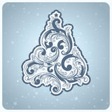 Elegant baroque style Christmas tree. Stock Photo