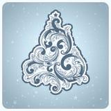 Elegant baroque style Christmas tree. Beautiful vector illustration Stock Illustration