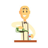 Elegant bartender man character standing at the bar counter pouring wine  Royalty Free Stock Image