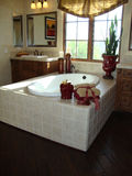 Elegant Bath Room. Beautiful bath room with dark wood floors white tub stock photos