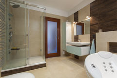 Elegant bathroom. Interior with bath and shower Stock Images