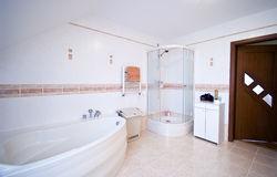 Elegant bathroom. Interior of an elegant bathroom with shower cabin and a bath tub Royalty Free Stock Photo