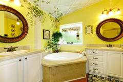 Elegant bathroom with bright yellow walls and cool interior. Stock Image
