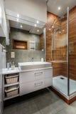 Elegant bathroom interior. In white and grey colors Stock Image