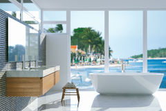 Elegant bathroom with panoramic window. 3d render. Stock Photography