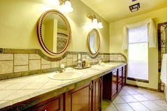 Elegant bathroom with stone wall trim Royalty Free Stock Photo