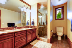 Elegant bathroom with warm colored interior. Royalty Free Stock Images