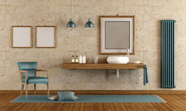 Elegant bathroom with washbasin. Modern bathroom with washbasin on wooden shelf - 3d rendering Stock Image