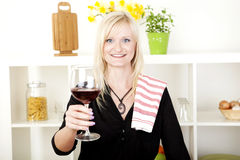 Elegant woman making a toast Royalty Free Stock Photography
