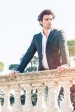 Elegant beautiful business pensive italian man. Charming prince Royalty Free Stock Images