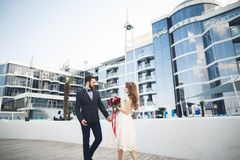 Elegant beautiful couple posing near modern glass building.  stock photo
