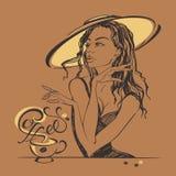 Elegant beautiful girl in a hat drinking coffee. Coffee-break. Lettering. . royalty free illustration