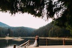 Elegant beautiful wedding couple embracing near wooden fence on lake background.  Royalty Free Stock Photo