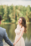 Elegant beautiful wedding couple posing near a lake at sunset.  Stock Photos