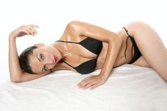 Elegant beautiful woman with black bikini Stock Image