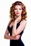 Elegant beautiful woman in black dress. royalty free stock photos