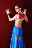 Elegant beautiful woman in colourful dress Stock Photo