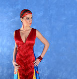 Elegant beautiful woman in colourful dress Royalty Free Stock Image