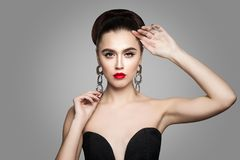 Elegant Beautiful Woman with Hair Updo and Perfect Make up stock photos
