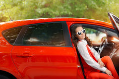 Elegant Beautiful Woman in Red Car stock images
