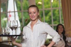 Elegant beautiful woman serving drinks Stock Image