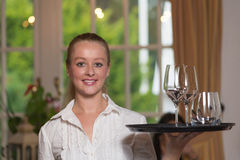 Elegant beautiful woman serving drinks Royalty Free Stock Photos