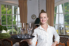 Elegant beautiful woman serving drinks Stock Photography