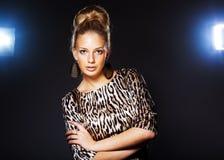 Elegant beautiful woman wearing jewelry. Portrait of elegant beautiful woman wearing jewelry stock image