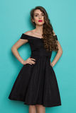 Elegant Beautiful Young Woman In Black Cocktail Dress Royalty Free Stock Images