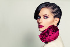 Elegant Beauty. Stylish Woman with Hairstyle and Makeup Stock Photos