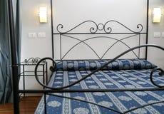 Elegant bedroom. Contemporary elegant home furnished bedroom interior Stock Image