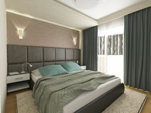 Elegant bedroom, 3d render Royalty Free Stock Photography
