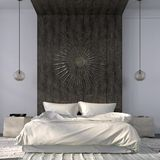 Elegant beige bedroom with wooden decor Stock Images