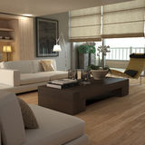 Elegant beige interior. Soft-edged modern interior with wood colours and contemporary furniture Royalty Free Stock Photos