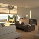 Elegant beige interior (sunny) Royalty Free Stock Photo