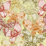 Elegant beige seamless background with butterflies Royalty Free Stock Photos